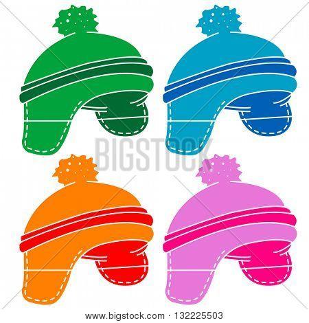 woolen hat cartoon illustration isolated on white