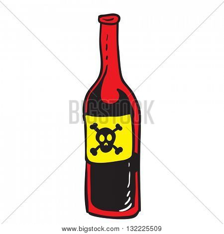 poison red bottle cartoon illustration