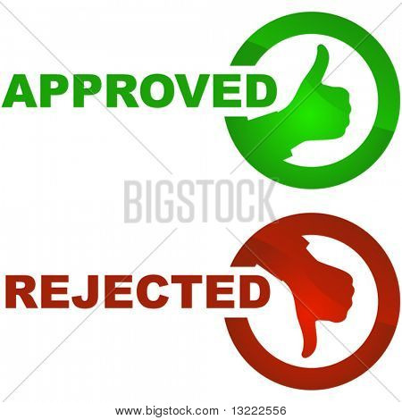 Approved and rejected labels.