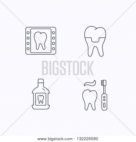 Dental crown, x-ray and brushing teeth icons. Mouthwash linear sign. Flat linear icons on white background. Vector