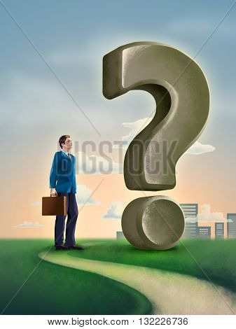 Businessman standing on a path, close to a big question mark. Digital illustration.