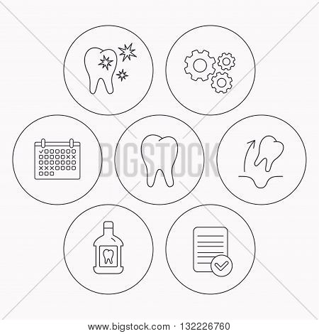 Tooth, mouthwash and healthy teeth icons. Tooth extraction linear sign. Check file, calendar and cogwheel icons. Vector