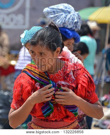 SANTIAGO DE ATITLAN GUATEMALA APRIL 29 2016: Portrait of a Mayan woman. The Mayan people still make up a majority of the population in Guatemala.