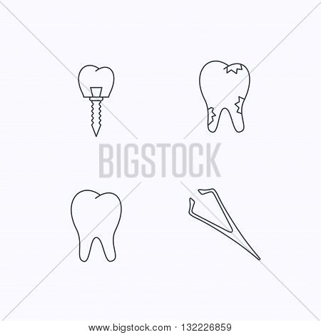 Dental implant, caries and tooth icons. Tweezers linear sign. Flat linear icons on white background. Vector