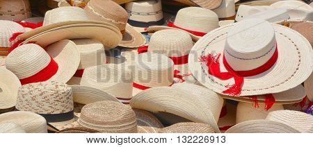 Straw hats for sale in a market Guatemala