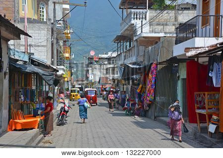 SANTIAGO DE ATITLAN GUATEMALA APRIL 29 2016: Street scene Santiago Atitlan is a municipality in the Solola department of Guatemala. The town is situated on Lago de Atitlan