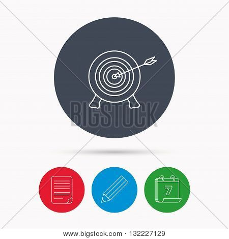 Target with arrow icon. Archery aiming sign. Professional shooter sport symbol. Calendar, pencil or edit and document file signs. Vector