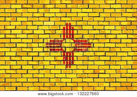 Flag of New Mexico on a brick wall - Illustration,  The flag of the state of New Mexico on brick textured background,  New Mexico flag in brick style