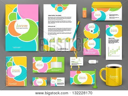 Branding design kit with colorful circle blobs decoration. Business stationery mockup with badge, folder, cup,  pennant, letter.