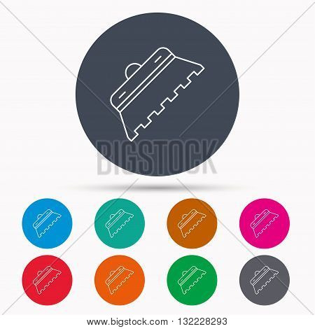 Trowel for tile icon. Spatula repair tool sign. Icons in colour circle buttons. Vector
