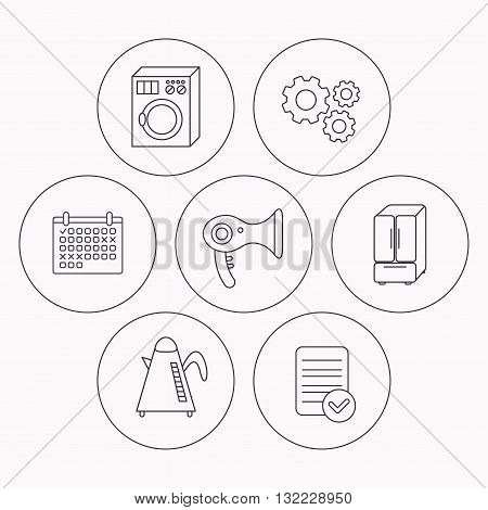 Washing machine, teapot and hair-dryer icons. American style refrigerator linear sign. Check file, calendar and cogwheel icons. Vector