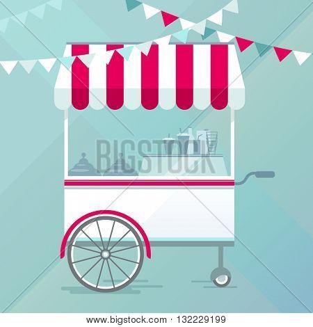 Street food cart, bike cafe concept vector illustration, flat design style