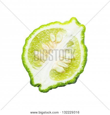 Kaffir Lime isolated on white background with clipping path