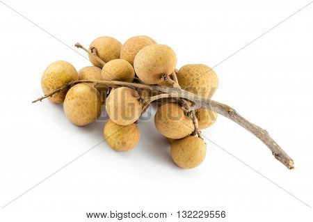 close up of longan isolated on a white background