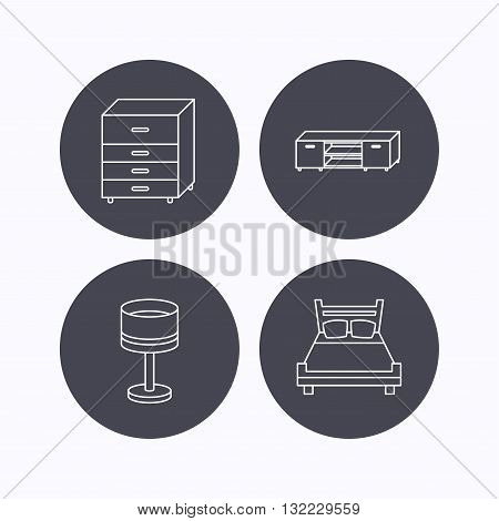 Double bed, table lamp and TV table icons. Chest of drawers linear sign. Flat icons in circle buttons on white background. Vector