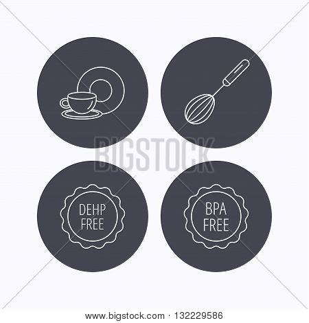 Food and drink, whisk and BPA free icons. DEHP free linear sign. Flat icons in circle buttons on white background. Vector