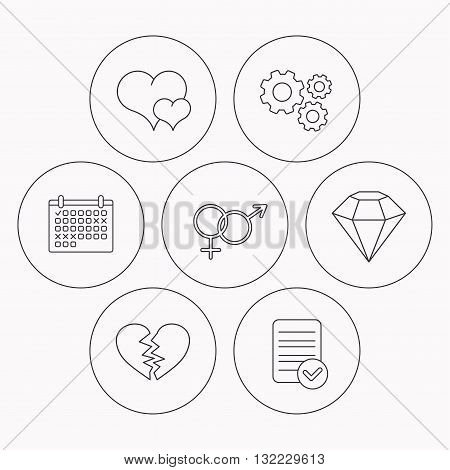 Love heart, brilliant diamond and male, female icons. Broken heart or divorce linear sign. Check file, calendar and cogwheel icons. Vector