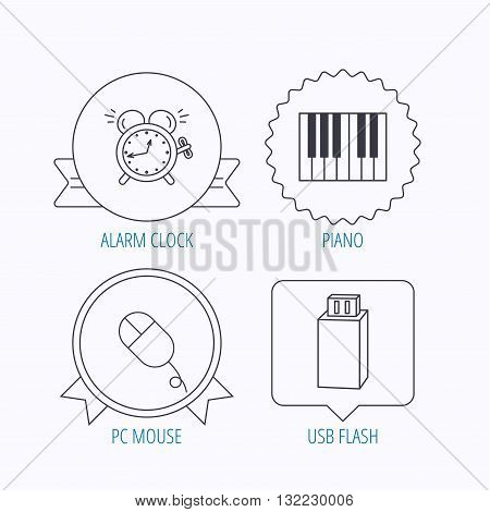 Alarm clock, USB flash and PC mouse icons. Piano linear sign. Award medal, star label and speech bubble designs. Vector