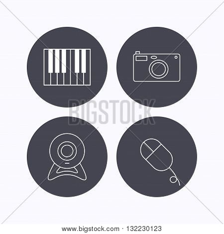 Piano, web camera and photo camera icons. PC mouse linear sign. Flat icons in circle buttons on white background. Vector