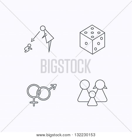 Male, female, dice and family icons. Under supervision linear sign. Flat linear icons on white background. Vector