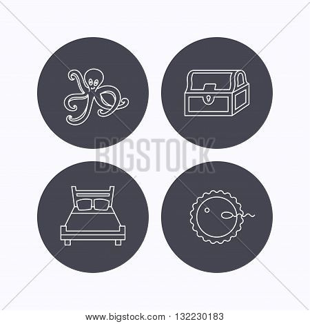 Fertilization, double bed and octopus icons. Treasure chest linear signs. Flat icons in circle buttons on white background. Vector