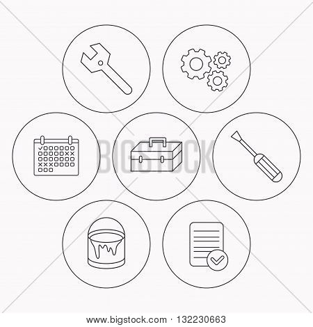 Wrench key, screwdriver and paint bucket icons. Toolbox linear sign. Check file, calendar and cogwheel icons. Vector