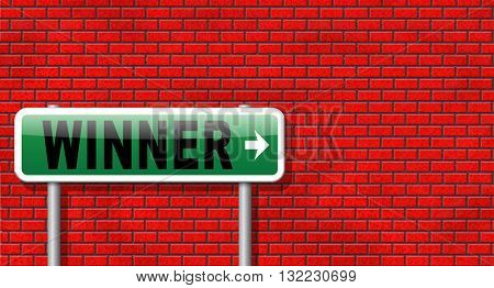 winner of medal and quiz results price and award or contest winners road sign