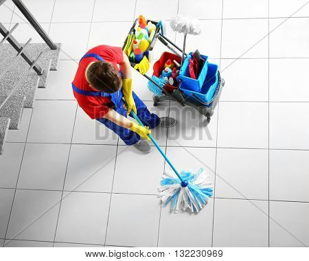 Man mopping floor, top view