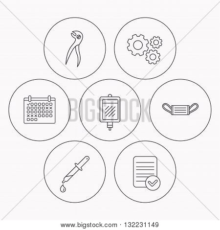 Medical mask, blood and dental pliers icons. Pipette linear sign. Check file, calendar and cogwheel icons. Vector