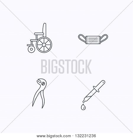 Medical mask, pipette and dental pliers icons. Wheelchair linear sign. Flat linear icons on white background. Vector