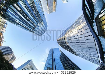 BRISBANE, AUSTRALIA - MAY 25 2016: Fisheye view looking up in the sky at Brisbane cityscape on Eagle Street