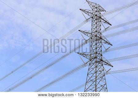 close-up of the electricity pylons with the blue skythe high-voltage electricity pylon with the blue sky day in close-up scene