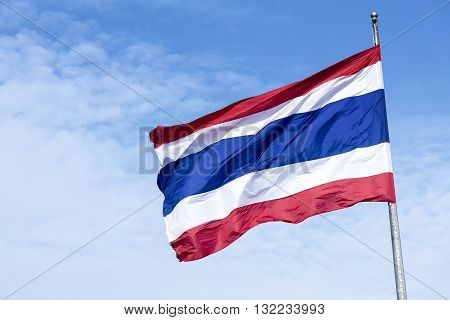 the national flag of kingdom fo Thailandkingdom of Thailand national flag with the sky