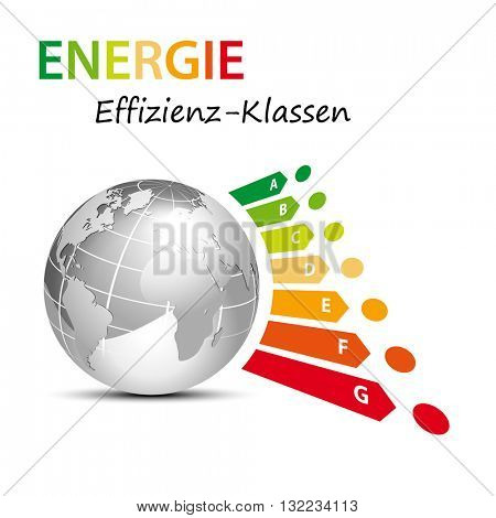 Energy efficiency classes with globe - global current saving concept