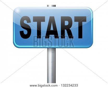 start new life or road to fresh begin, road sign billboard.