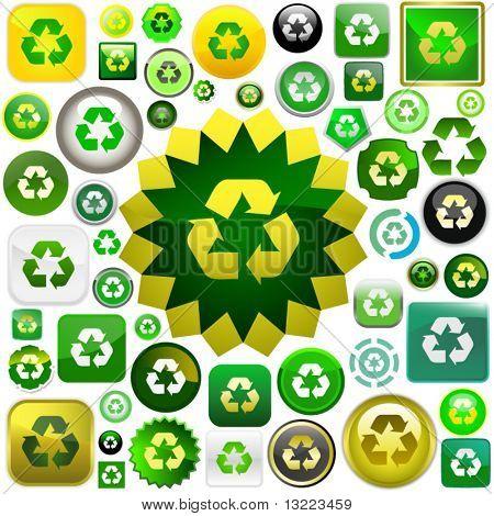 Recycle symbol button. Big vector set.