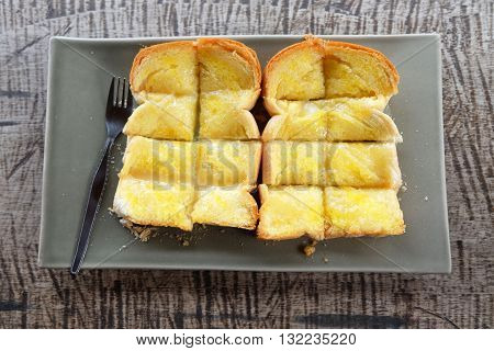 Bread and butter on the wood floor