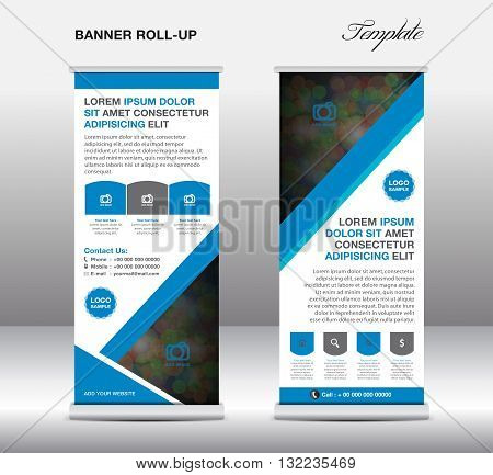 Blue Roll up banner stand template stand design banner template Blue banner advertisement design flyer design Poster layout template
