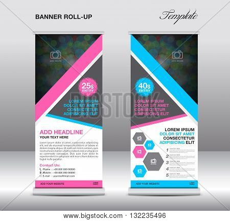 Blue and pink Roll up banner stand template stand design banner template blue banner advertisement flyer design Poster layout template