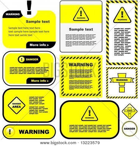 Warning vector label. Vector template.