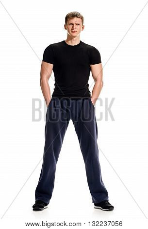 Young man sporty Full body length portrait isolated over white studio background.