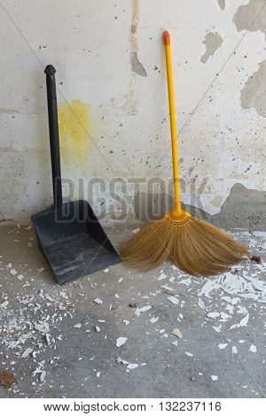 dustpan and broom for cleaning in house