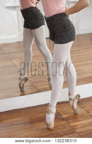 Low Section Of Ballerina Performing Pointe