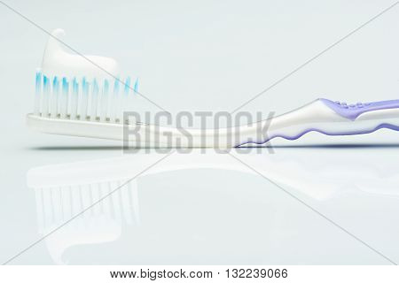 Close Up Of Tooth Paste On Brush