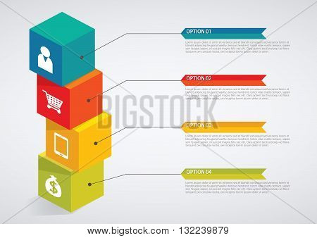 Vector Illustration:   info graphics - colorful graph, cube tower