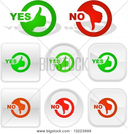 Yes and No buttons. Vector set.