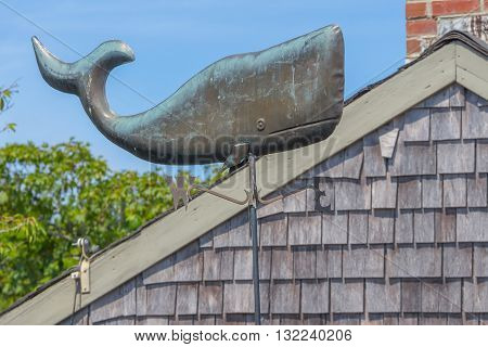 Whale Weather Vane - A copper weather vane of a New England Whale