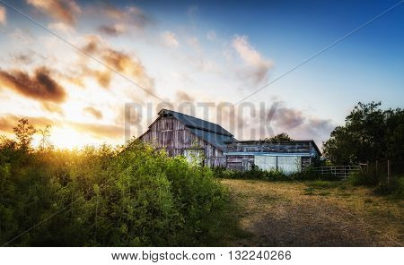An Old Barn at Sunset, Panoramic Color Image, USA