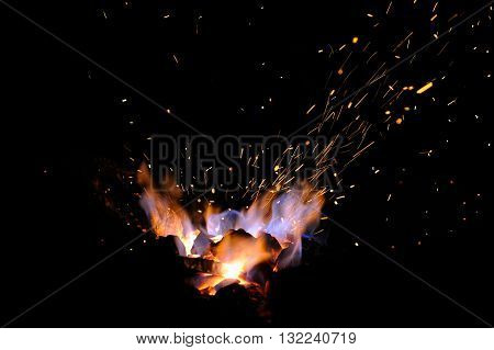 Embers and Flames of a smith's forge