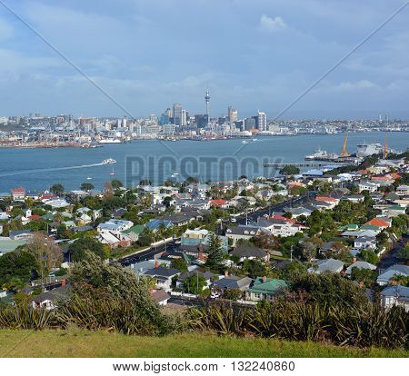 Auckland New Zealand - May 21 2016: View from Mount Victoria Devonport towards Auckland City in the background with copy space.